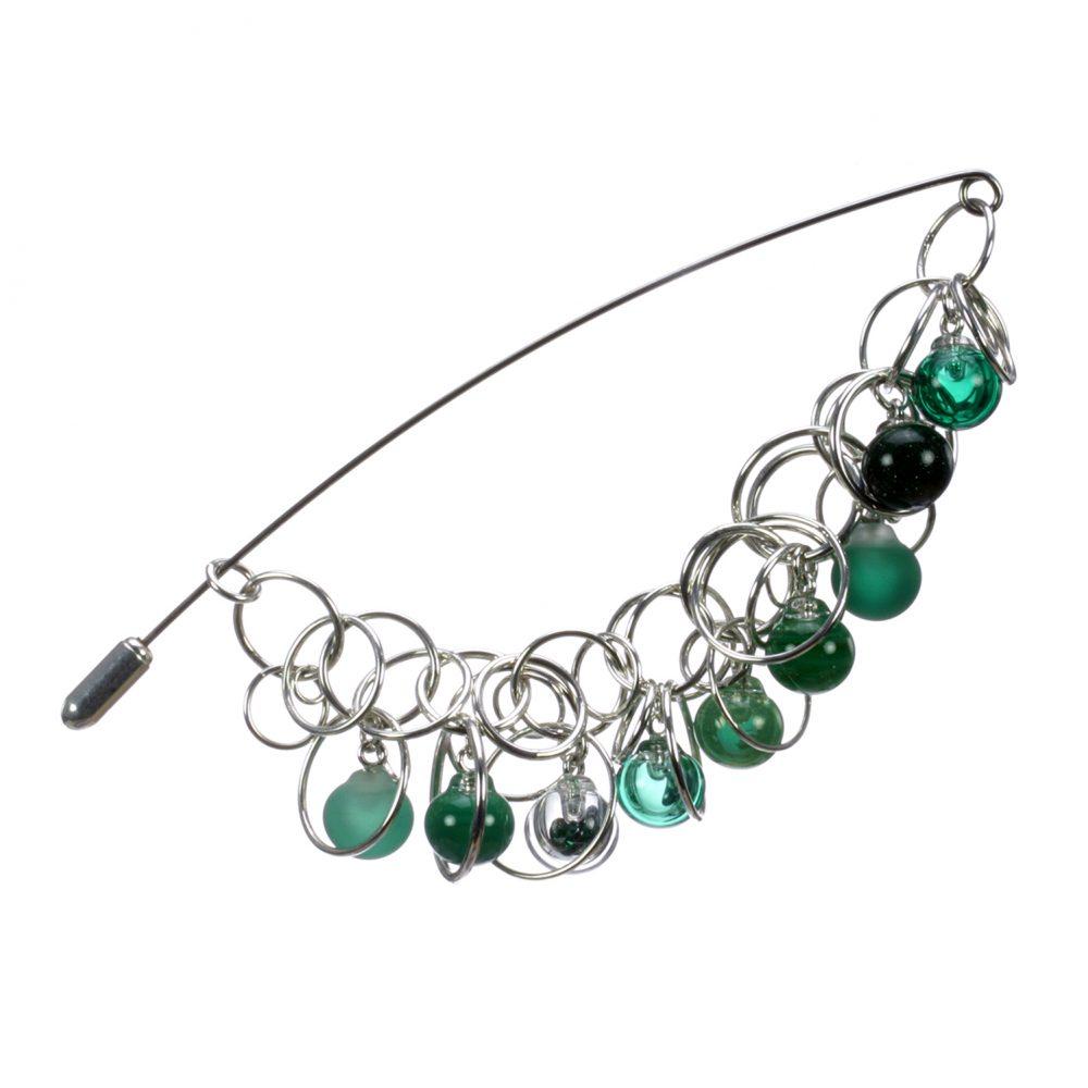 2 Emerald Bubble Chain Pin Charlotte Verity