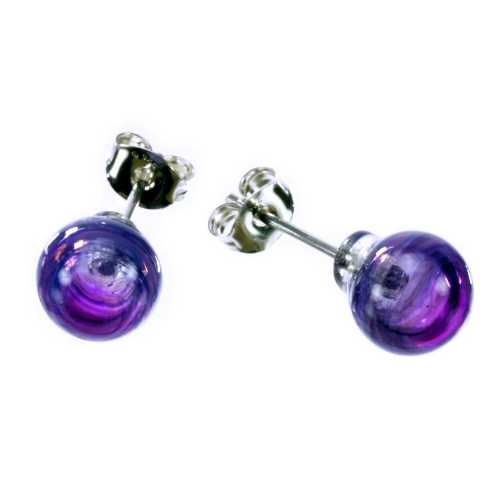 Purple Swirl Bubble Studs Charlotte Verity